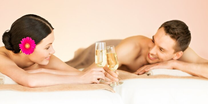 Romantika pro 2: masáž dle výběru, aroma lázeň a sklenka sektu