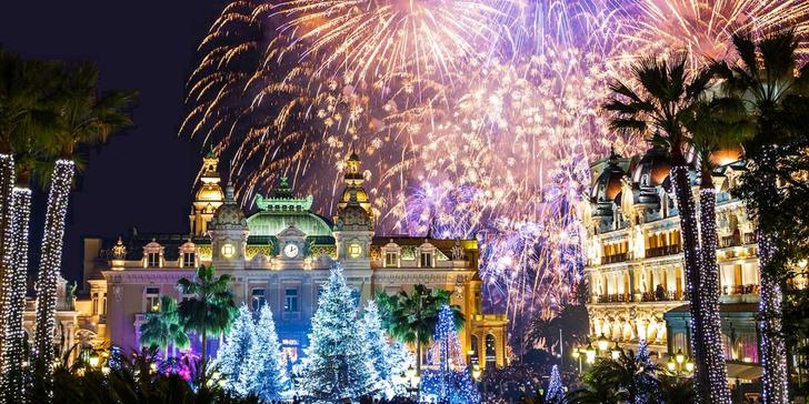 Oslava příchodu Nového roku v Monaku s prohlídkou města a ohňostrojem