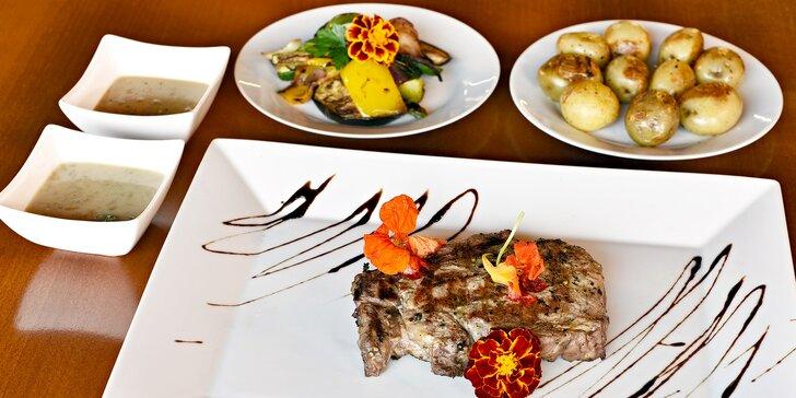 Rump steak z Irska: 200 nebo 400 gramů vyzrálého hovězího masa a příloha