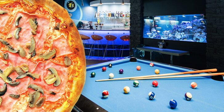 2 hod. karambolu nebo billiardu, a když vás chytne hlad, i 2 křupavé pizzy