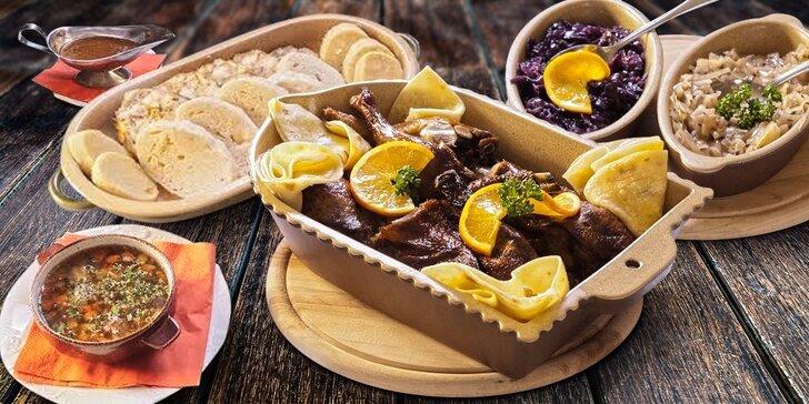 3chodové kachní menu v Duck restaurantu s možností privátního wellness