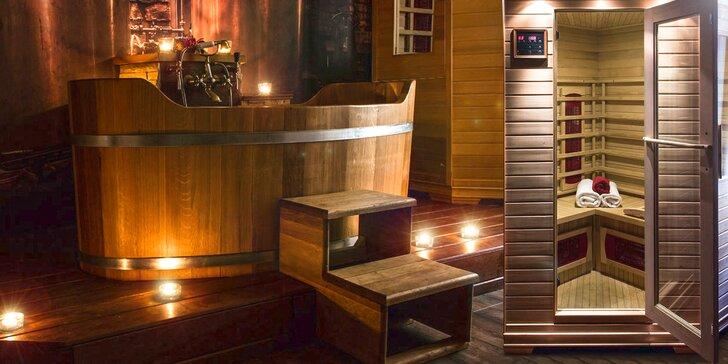 Zasloužený relax pro dva: infrasauna a aroma koupel ve vířivé dubové vaně