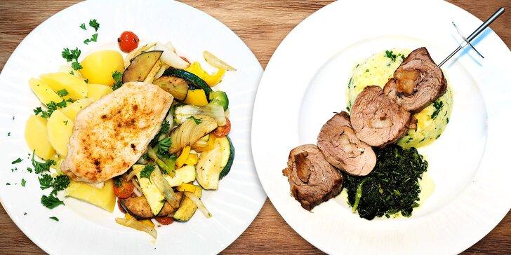 Menu s výběrem hlavního jídla i předkrmu: 3 poctivé chody z lokálních potravin