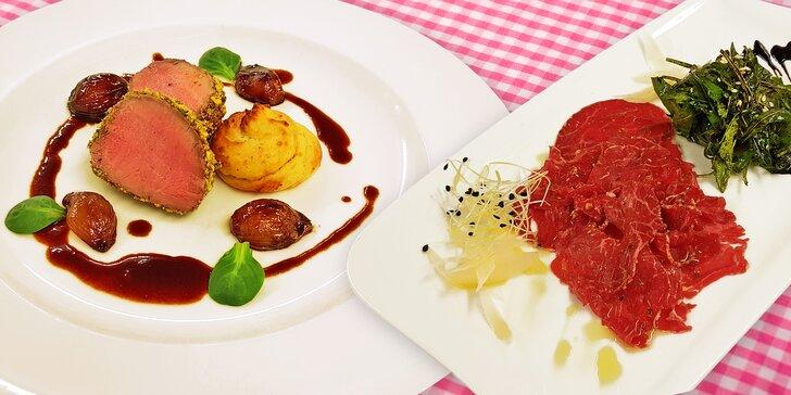 5chodové degustační menu pro 2 podávané v restauraci Čeladenka