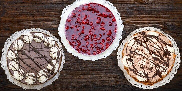 Piškotový dort s malinami, čokoládový s tvarohem nebo šlehačkový Harlekýn