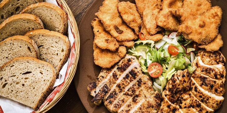 Bašta pro partu: steaky, krkovička, míchaný salát a americké brambory