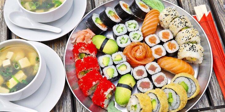 Sushi sety pro odnos s sebou: 22 ks nebo 36 ks s polévkou miso a sashimi