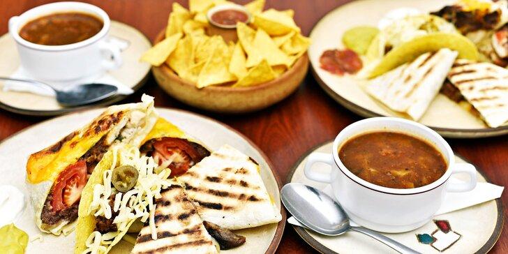 Mexické 5chodové menu pro dva: polévky, quesadilla, burrito, tacos i nachos