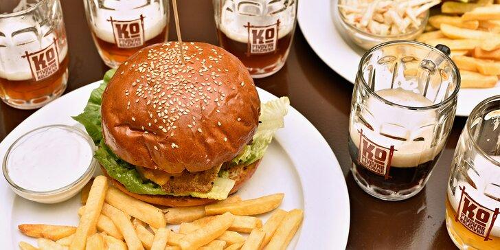 Degustace nefiltrovaných piv z minipivovaru Kolčavka a dva burgery pro dva
