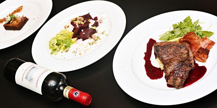 Menu pro 2: rump steak na víně s gratinovaným bramborem a čok. brownies