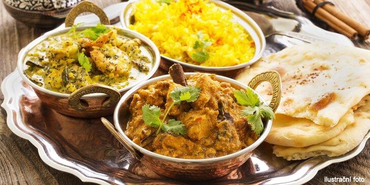 Indické menu o třech chodech: od předkrmu po dezert i nápoj dle vašeho výběru