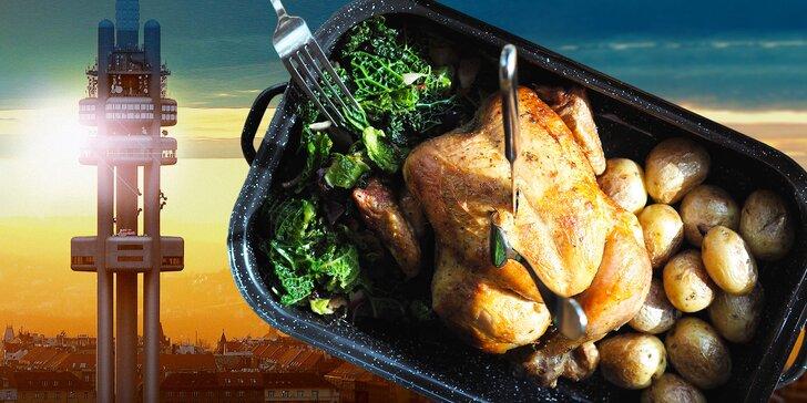Grilované kuře v Miminoo restaurantu a vstup na Žižkovskou věž až pro 2