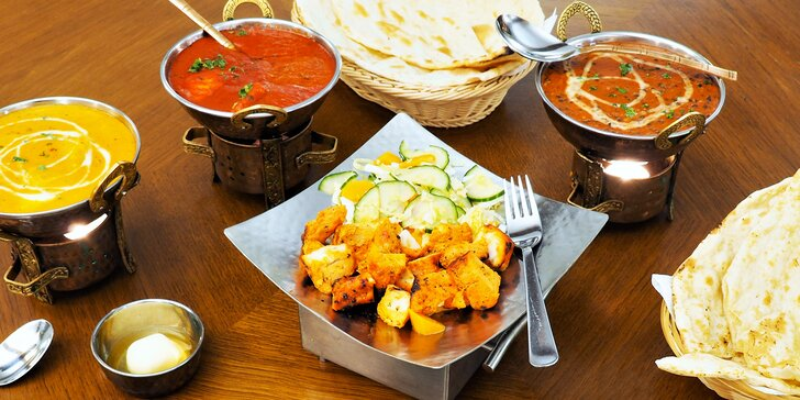 Indické degustační menu až pro 4 osoby sestavené z nejoblíbenějších jídel