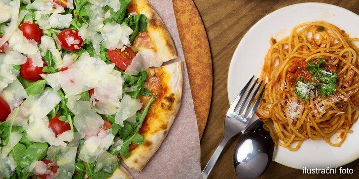 Tradiční italské speciality: pizza, pasta, salát nebo rizoto dle výběru