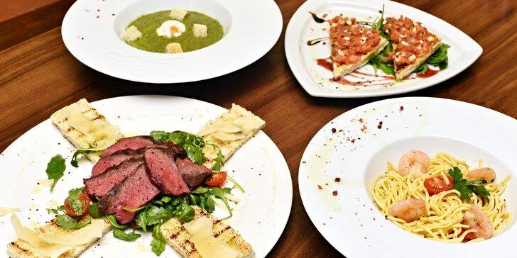 Pětichodové degustační menu s flap steakem pro dvě osoby