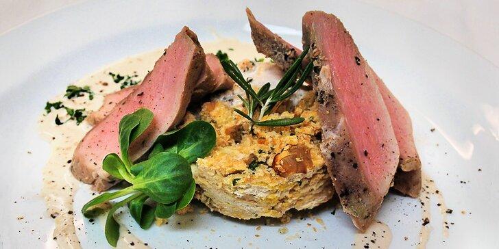 Degustační zvěřinové menu o 5 chodech pro dva: kančí, daňčí i kachní maso