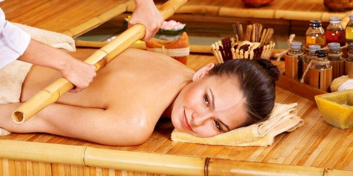 Terapeutická orientální aroma masáž zad, šíje a nohou bambusovými tyčemi