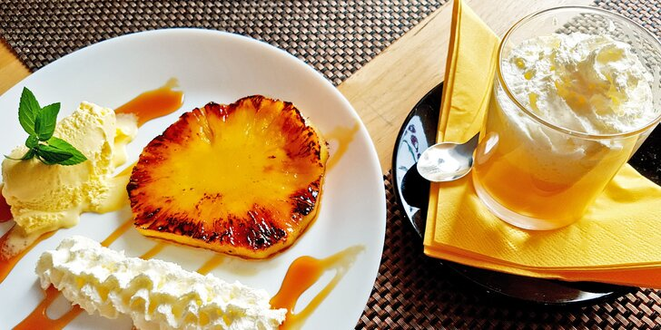Grilovaný ananas a bombardino pro 1 nebo 2 pohodáře