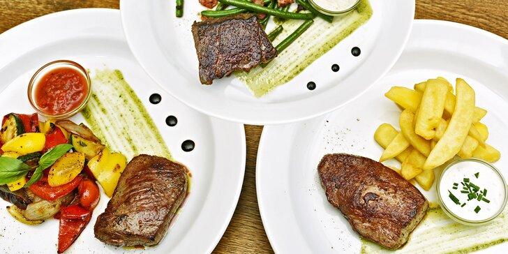 Sladěné degustační menu se 3 skvělými steaky z jihoamerického hovězího