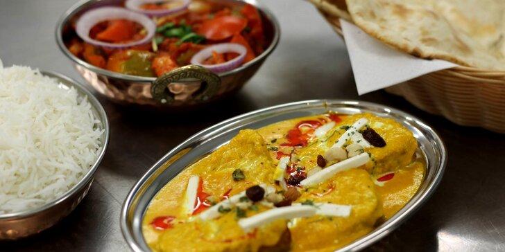 Objevte chutě Indie: tříchodové menu dle vašeho výběru i lahev vína