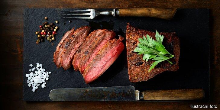 6chodové menu kombinující španělskou a českou kuchyni: bizoní steak i jelítko