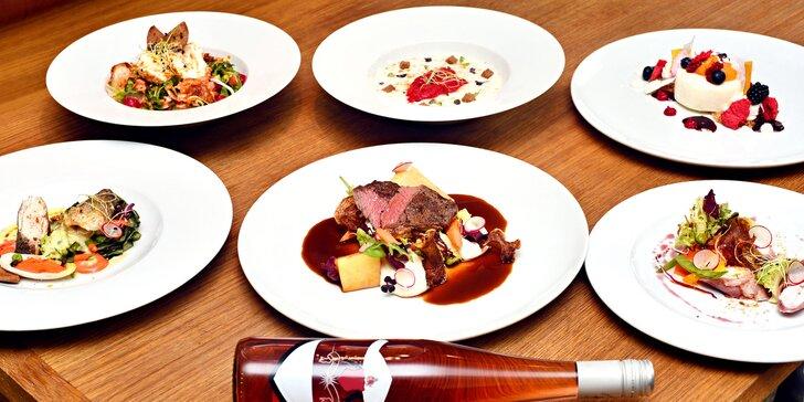 4chodové menu pro zamilované: mořský vlk nebo hovězí steak a lahev vína