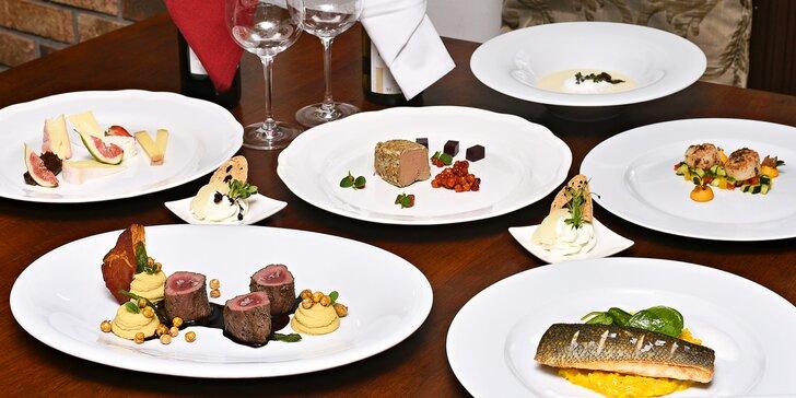 6chodové degustační menu pro dva: mušle, ryba či daňčí hřbet, sýry a příp. víno