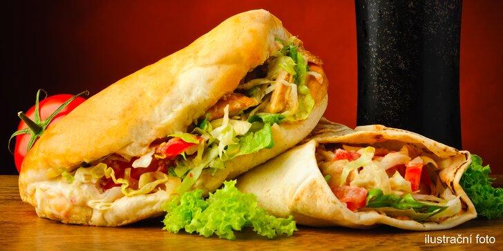 Kebab v Londýnské: 150 g kuřecího, dresing a příloha v tortille či chlebu a nápoj