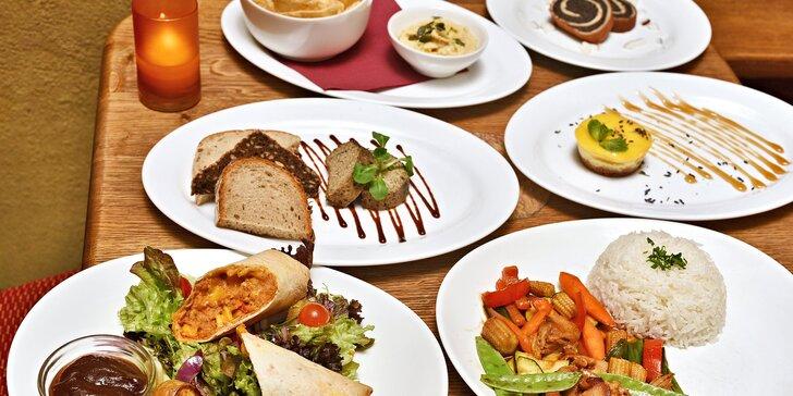 Pestré vegetariánské menu pro 2 osoby: 3 chody výběrem vždy ze dvou jídel