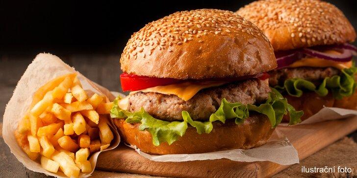 Burgerové menu pro 2 či partu: vyzrálé hovězí z mladého býčka, hranolky a salát