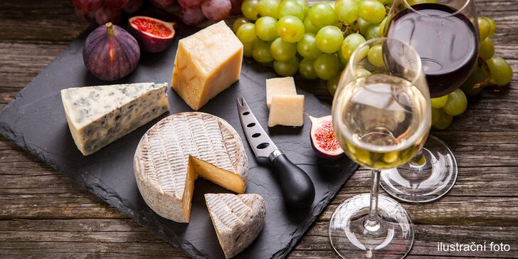 Gurmánské rendez-vous v pasáži Lucerna: 300 gramů sýrů a 2 sklenky vína