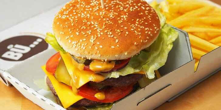 2 fešáci k nakousnutí: burgery s sebou výběrem ze 6 druhů a 2× hranolky