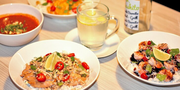 Japonsko-thajské bistro Mr. Sushito: polévka, kuře, krevety nebo losos a drink