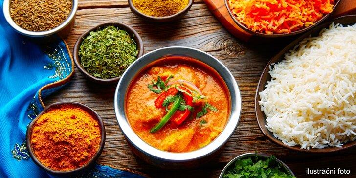 Indické hody pro dva v restauraci Taj Mahal: polévka, hlavní jídlo i nápoj lassí