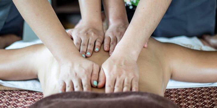 Celotělová královská masáž čtyř rukou v délce 45 minut