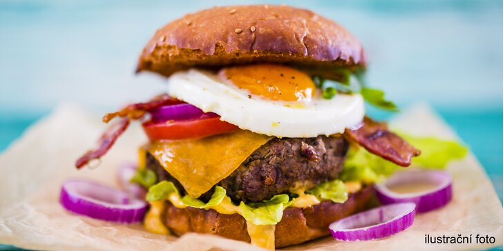 Nadupané Maxi burger menu se 100% bio hovězím Angus, hranolky a nápojem