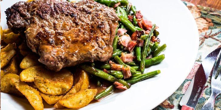 Hovězí rib eye steak z Brazílie, americké brambory a fazolky pro 1 nebo 2 osoby