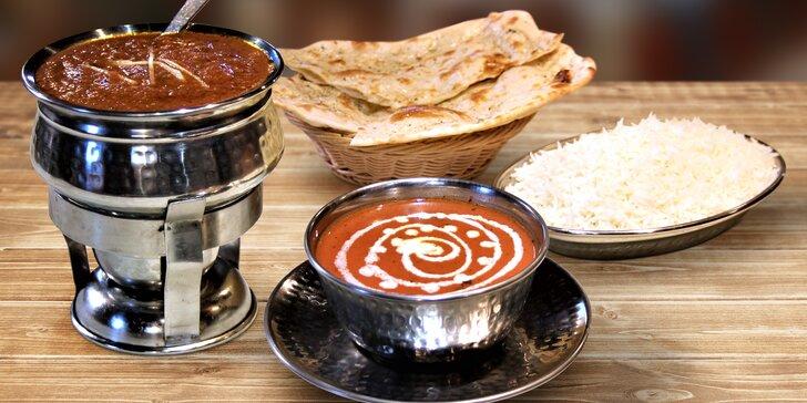 Krevety, jehněčí – či jiná volba? 3chodová indická večeře s výběrem hlavního jídla