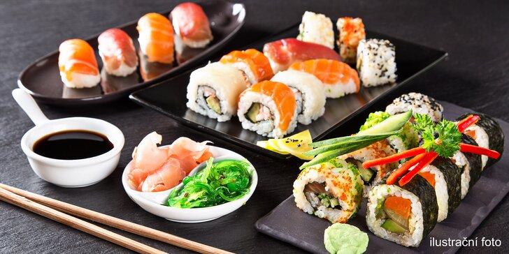 Přijďte sami, ve 2 nebo rovnou ve 4 kdykoliv v týdnu na bohatý sushi set