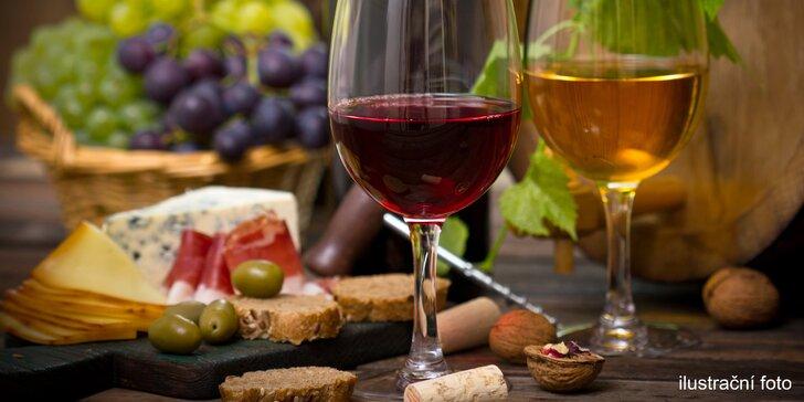 Džbánek kvalitního vína a talíř plný lahůdek ve Wine Studiu na Vinohradech