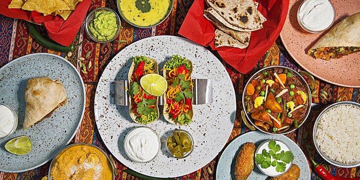Indicko-mexické degustační menu: korma, madrás, burrito i tacos