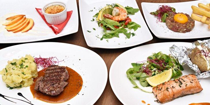 4chodové degustační menu pro 1 či 2 osoby, každý chod výběrem ze 2 variant