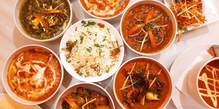 Indické menu pro dvě osoby s výběrem chodů: masové, sýrové i vege pokrmy