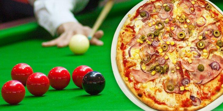 Dvě libovolné pizzy z jídelního lístku a hodina billiardu nebo karambolu