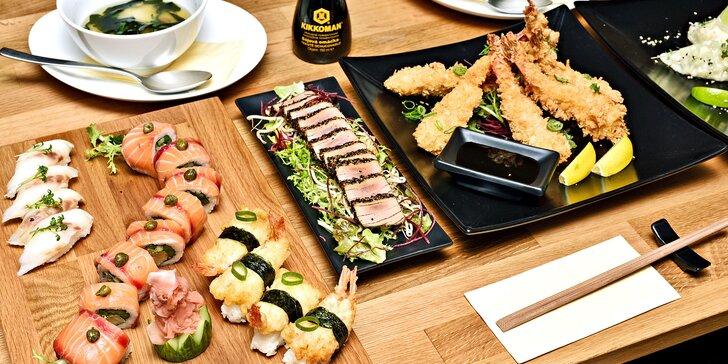 Degustační sushi menu pro dva s předkrmy, polévkou Miso i dezertem