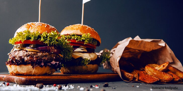 BBQ Angus burger s poctivým hovězím masem a steakovými hranolky