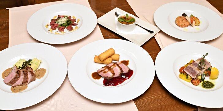 Romantické 6chodové degustační menu se steakem z tuňáka i vepř. panenkou