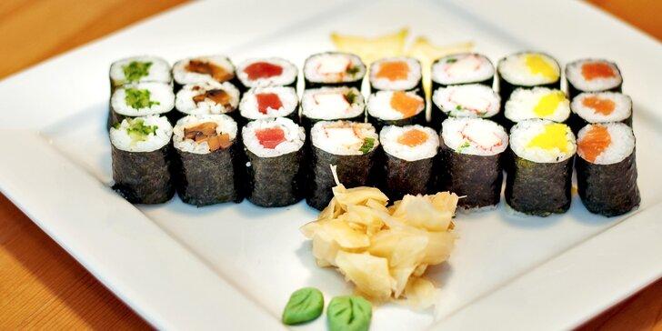 Japonsko na talíři: sushi set s 24 rolkami s možností odnosu s sebou