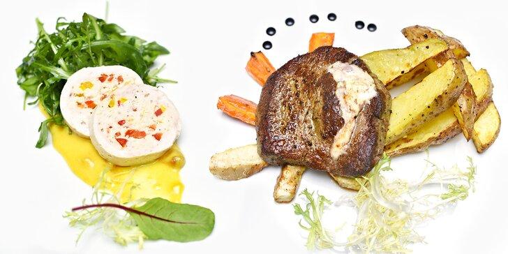 3chodové menu v restauraci Na Zámečku: galantina, královský biftek a dezert