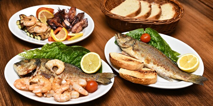 Středomořské speciality pro 2 osoby: Mořský vlk, pražma, krevety i kalamáry